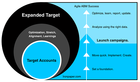 A graphic showing how we approach target accounts in an ABM campaign