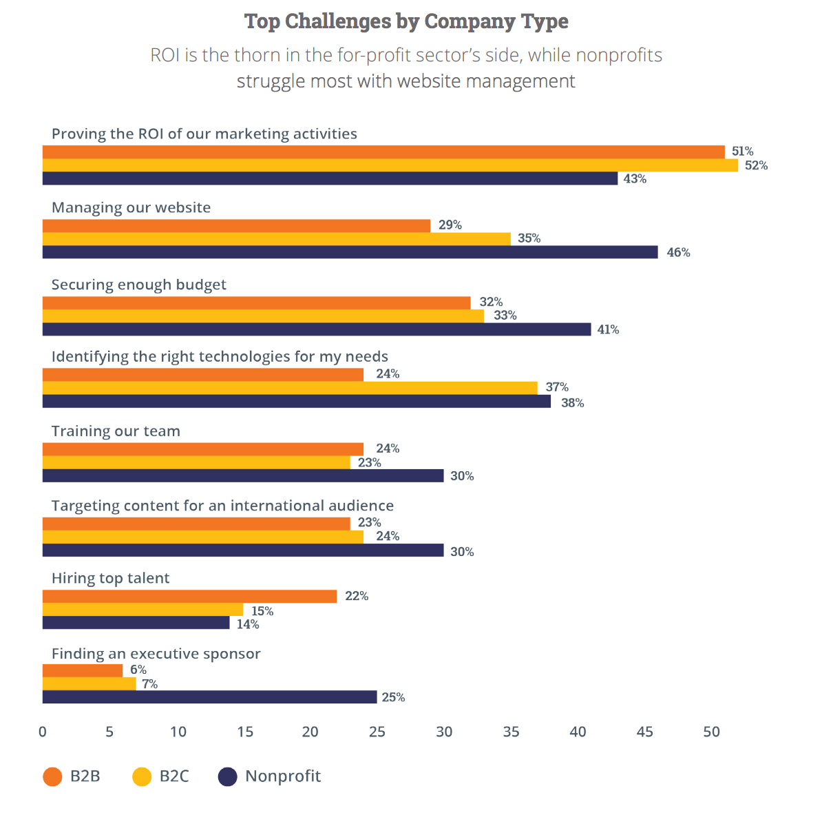 Top Challenges by Company Type ROI is the thorn in the for-profit sector's side, while nonprofits struggle most with website management