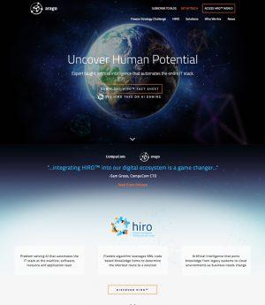 A screenshot of the Arago website, which Ironpaper designed