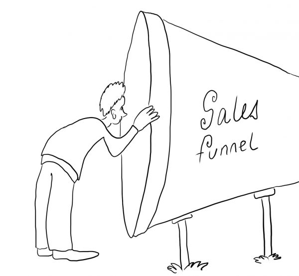 Sales funnel driver - a cartoon by Ironpaper