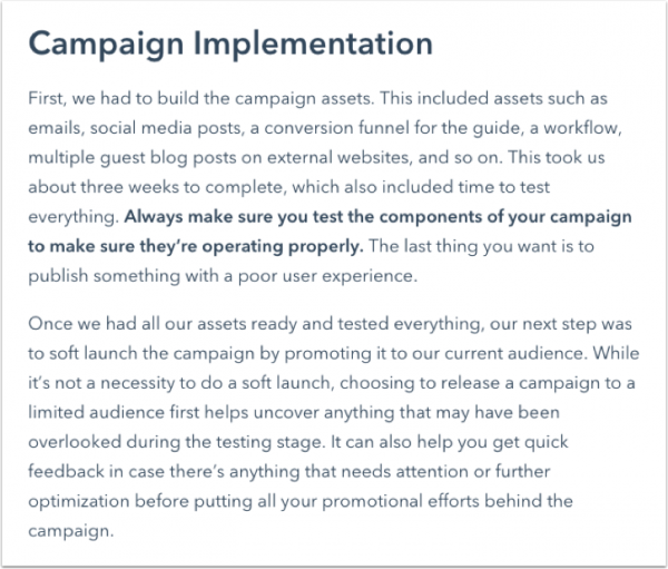 Blog article writing checklist - campaign implementation