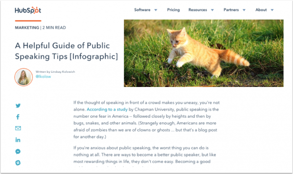 Using an infographic - example of a blog article