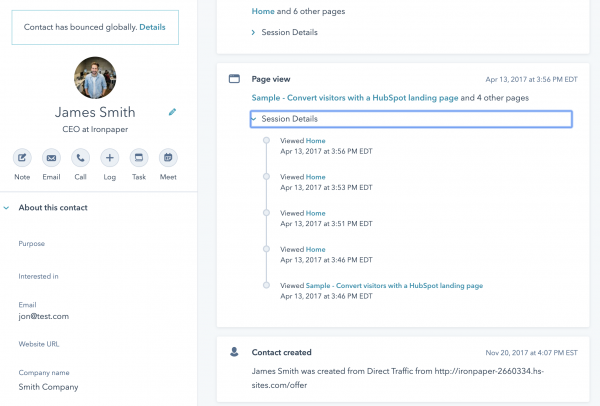 HubSpot CRM - contact conversion history and attribution
