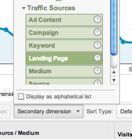 landing page identification from Google Analytics