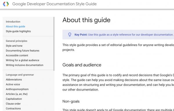 Google Developer Documentation Style Guide