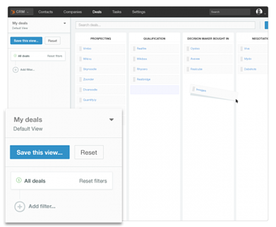 Dashboard for deals and tasks - CRM