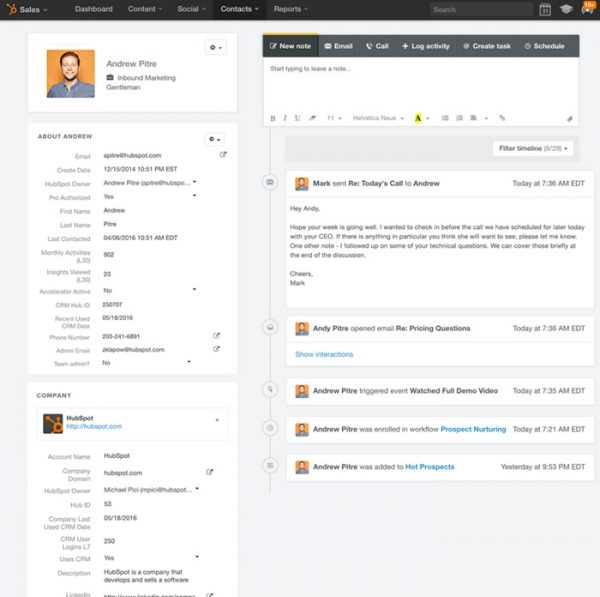 Hubspot CRM lead profile