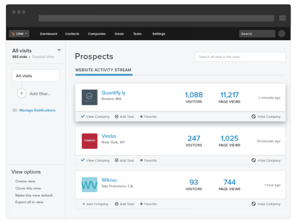Prospecting data for sales insights