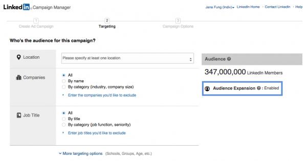 LinkedIn's Audience Expansion checkbox
