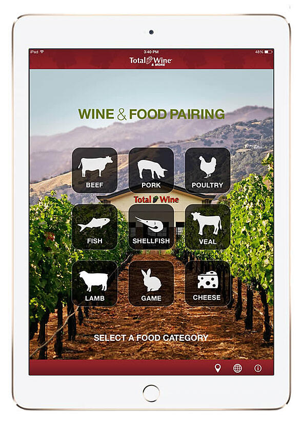 An iPad showing the Total Wine app that Ironpaper developed