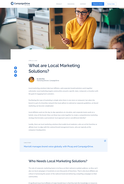 CampaignDrive website - blog design