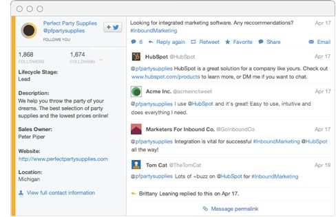 A marketing automation software with social media posts
