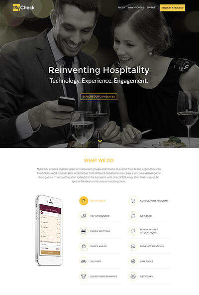 A screenshot of the MyCheck website, which Ironpaper designed