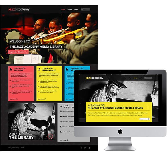 A collage of the Jazz Academy nonprofit websites Ironpaper designed
