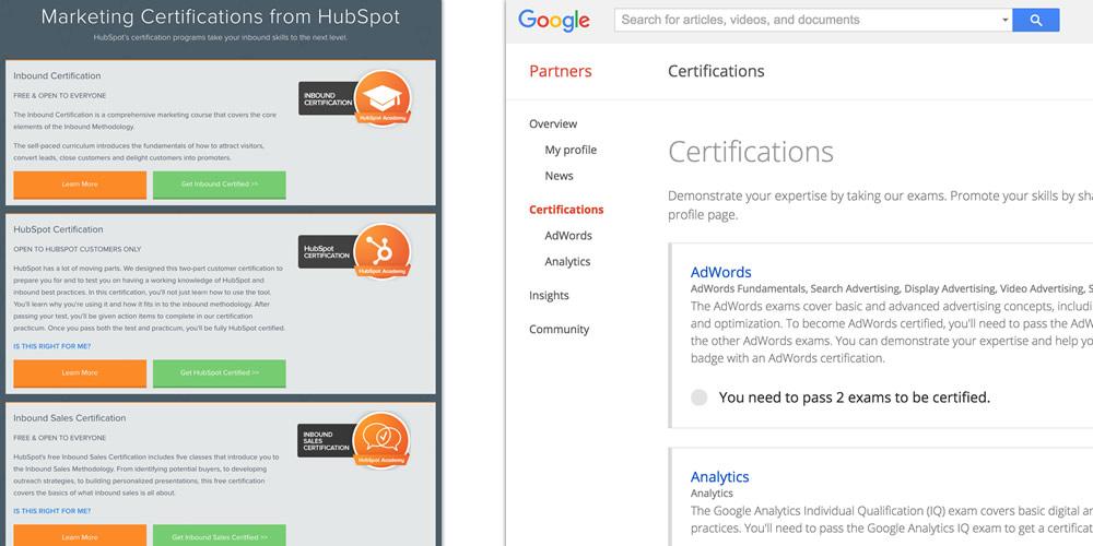 Inbound marketing certifications