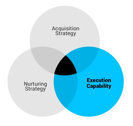 A venn diagram of acquisition strategy, nurturing strategy, and execution capability