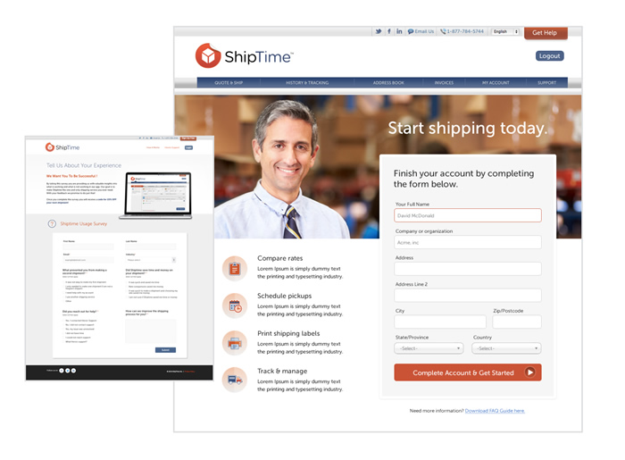 A website Ironpaper developed for ShipTime, a SaaS company