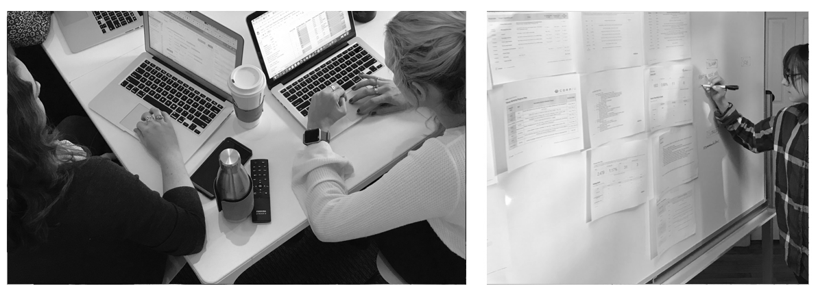 A collage of the Ironpaper team at work and sketches on paper