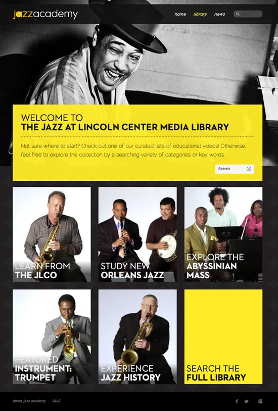 web development project - Jazz at Lincoln Center - Academy website development